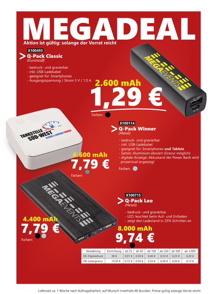 MEGADEAL Aktion unserer Powerbanks Lagerware. (Productno.: FLYER-MD1)