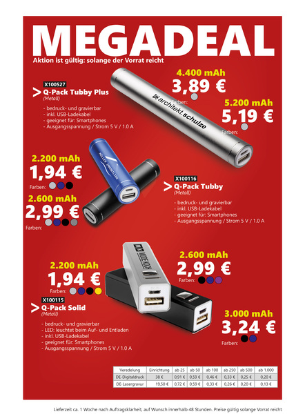MEGADEAL Aktion unserer Powerbanks Lagerware. (Productno.: FLYER-MD2)