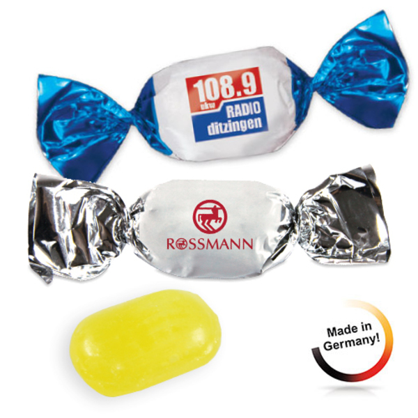 Compact-Bonbon im Wickler aus weißer Folie (Productno.: JU-Compact-Bonb)
