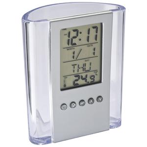 Acrylschreibtischköcher mit Uhr (Productno.: MAC-2103066)