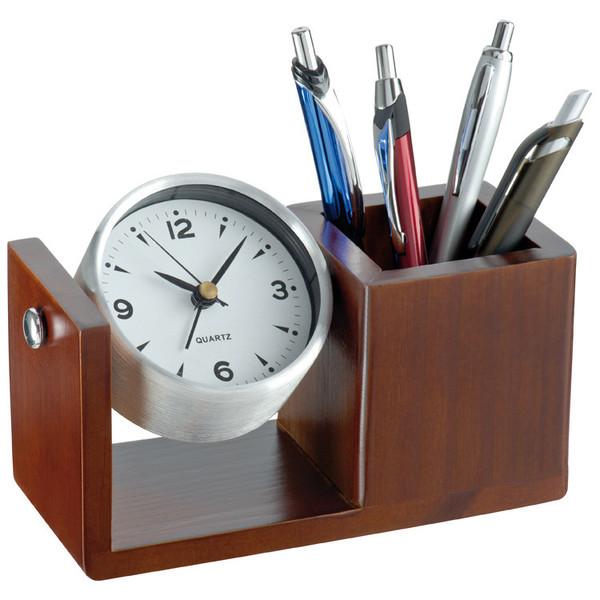 Alum.Tischuhr mit Stifteköcher (Productno.: MAC-2291801)