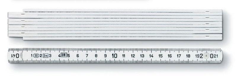 2 m Kunststoff-Zollstock Typ 1107 weiß (Productno.: ST-1107)
