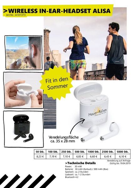 "Wireless In-Ear Kopfhörer ""Alisa"" (Productno.: VS-Flyer Alisa)"