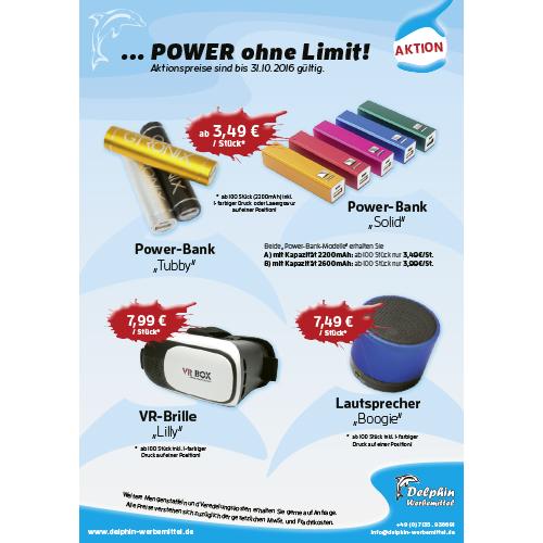 Flyer Powerbank, Lautsprecher und VR-Brille